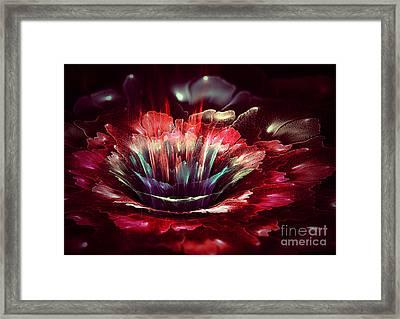 Red Fractal Flower Framed Print