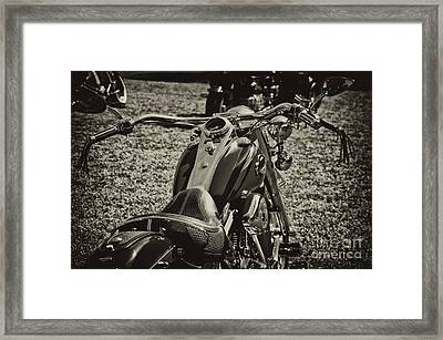 Framed Print featuring the photograph Red Harley Davidson by Wilma  Birdwell