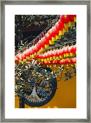 Red Lanterns At A Temple, Jade Buddha Framed Print by Panoramic Images