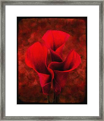 Red Lilies Framed Print by Wishes and Whims Originals By Michelle Jensen