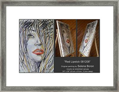 Framed Print featuring the painting Red Lipstick 081208 by Selena Boron