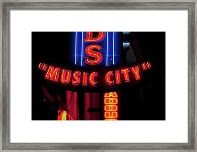 Red Neon Sign Nashville Crossroads Framed Print