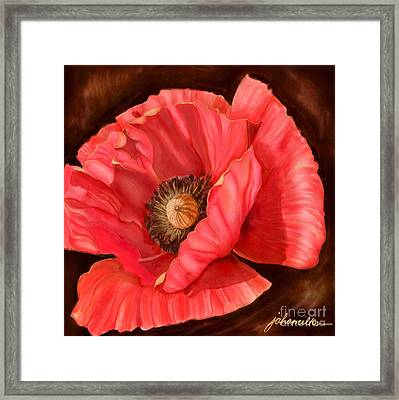 Red Poppy Two Framed Print by Joan A Hamilton