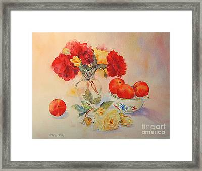 Framed Print featuring the painting Red Roses Jazz by Beatrice Cloake
