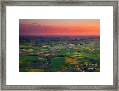 Red Skies Over The Palouse Framed Print