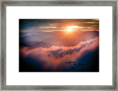 Red Sunset Himalayas Mountain Nepal Framed Print by Raimond Klavins