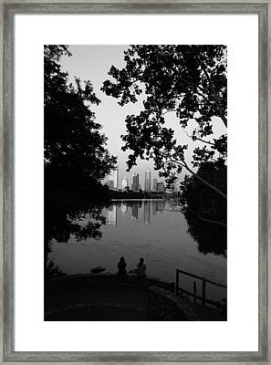 Reflections Of Austin Skyline In Lady Bird Lake At Night Framed Print