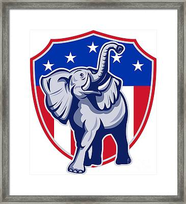 Republican Elephant Mascot Usa Flag Framed Print by Aloysius Patrimonio