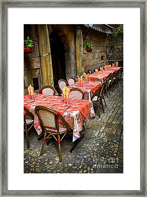Restaurant Patio In France Framed Print
