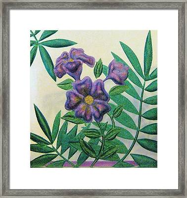 Reverse Painted Carved Florals On Glass Framed Print by Judy Via-Wolff