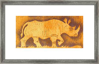 Rhino Framed Print by Larry Campbell