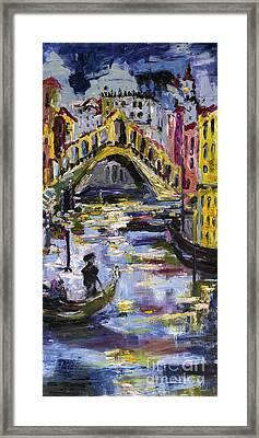 Rialto Bridge Venice Italy Framed Print by Ginette Callaway