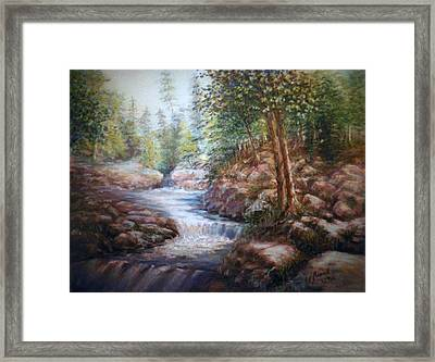 Framed Print featuring the painting River Falls by Laila Awad Jamaleldin