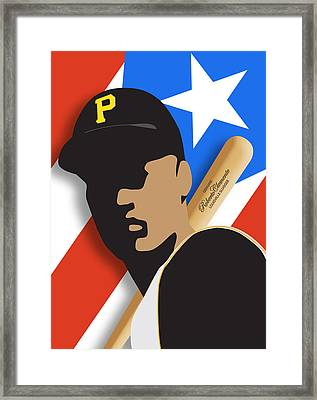 Roberto Clemente Framed Print by Ron Regalado