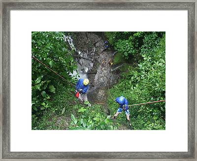 Rock Climbing Rope Climbing Costa Rica Vacations Waterfalls Rivers  Recreation Challanges  Facilitie Framed Print by Navin Joshi