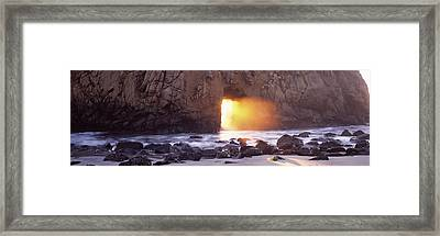 Rock Formation On The Beach, Pfeiffer Framed Print