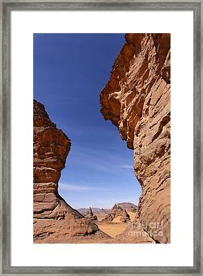 Rock Formations In The Akakus Mountains In The Sahara Desert Framed Print by Robert Preston