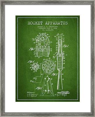 Rocket Apparatus Patent From 1914 Framed Print by Aged Pixel