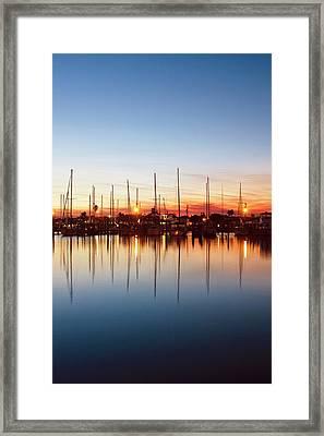 Rockport, Texas Harbor At Sunset Framed Print