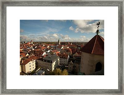 Roof Top View Of Old Town Regensburg Framed Print