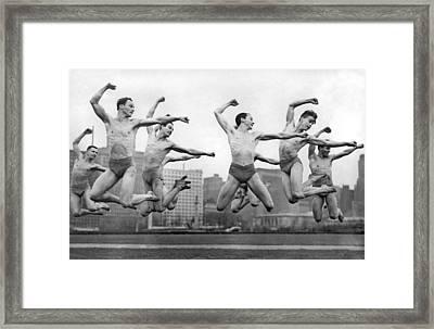 Rooftop Dancers In New York Framed Print