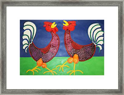 2 Roosters Framed Print by Matthew Brzostoski