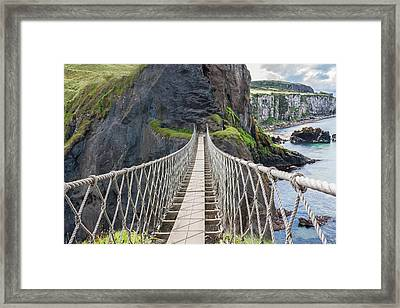 Rope Bridge At Carrick-a-rede In Northern Island Framed Print by Semmick Photo