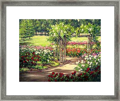 Rose Garden Arbor Framed Print by Vickie Fears
