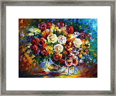 Roses And Wine Framed Print by Leonid Afremov
