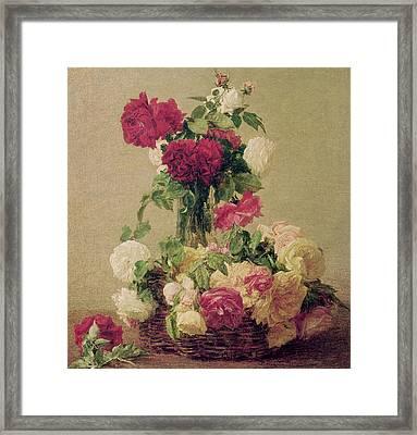 Roses Framed Print by Ignace Henri Jean Fantin-Latour