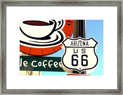 Framed Print featuring the digital art Route 66 Coffee by Valerie Reeves