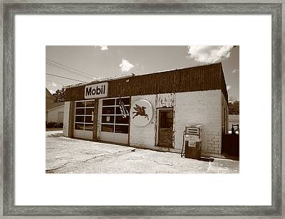 Route 66 - Rusty Mobil Station Framed Print by Frank Romeo