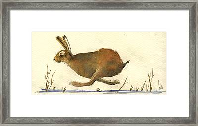 Running Hare Framed Print by Juan  Bosco