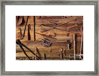 Rusty Tools Framed Print by Carlos Caetano