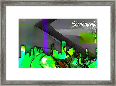 Sacramento Skyline Watercolor Framed Print by Marvin Blaine