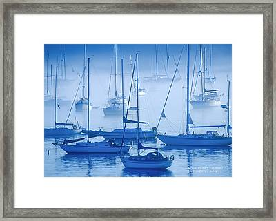 Sailboats In The Fog - Maine Framed Print