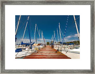 Sailing Boats In The Harbor Framed Print by Oliver Sved