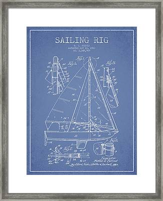 Sailing Rig Patent Drawing From 1967 Framed Print by Aged Pixel