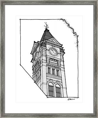 Framed Print featuring the drawing Samford Hall Clock Tower by Calvin Durham