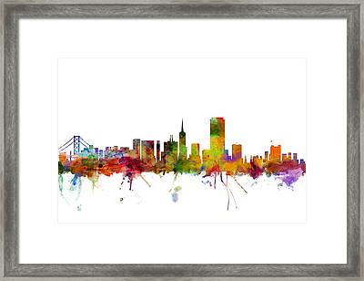 San Francisco City Skyline Framed Print by Michael Tompsett