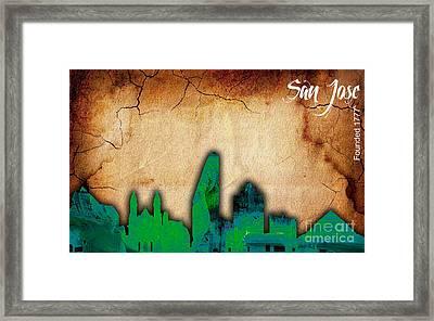 San Jose Skyline Watercolor Framed Print