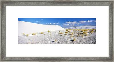 Sand Dunes In A Desert, White Sands Framed Print by Panoramic Images