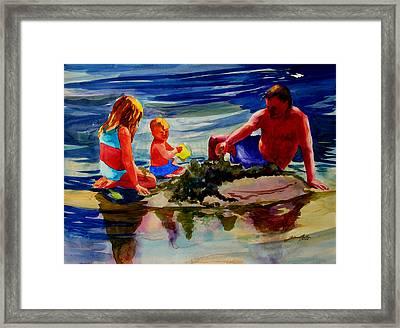 Sandcastles With Daddy Framed Print by Julianne Felton