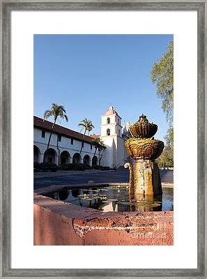 Santa Barbara Mission Fountain Framed Print