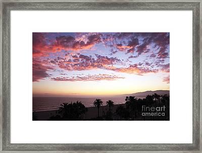 Santa Monica Sunset Framed Print by John Rizzuto