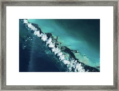 Satellite View Of Turks And Caicos Framed Print