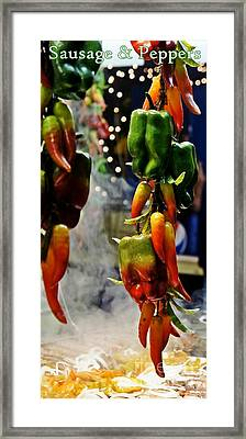 Framed Print featuring the photograph Sausage And Peppers by Lilliana Mendez