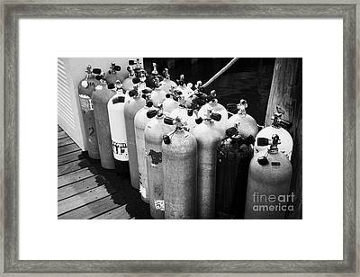 Scuba Air Tanks Lined Up On Jetty To Be Filled In Harbour Key West Florida Usa Framed Print by Joe Fox