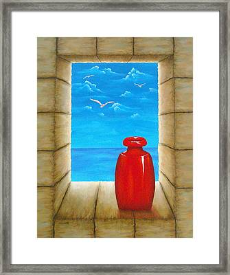Sea View From Castle Framed Print by Pamela Allegretto