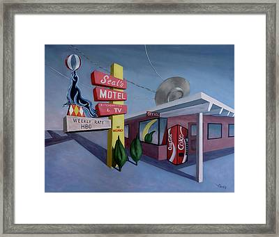 Framed Print featuring the painting Seal's Motel by Sally Banfill